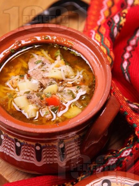 Пилешка супа от домашна кокошка със зеленчуци без застройка - снимка на рецептата